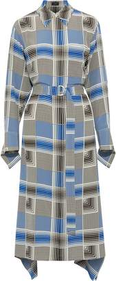 Joseph Cyprien Checked Silk Crepe De Chine Midi Shirt Dress