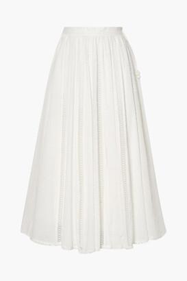 Zimmermann Suraya Lace-trimmed Swiss-dot Cotton-voile Midi Skirt