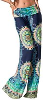Private Label Womens Fold Over Waist Wide Leg Palazzo Pants (L, Navy Tribal)