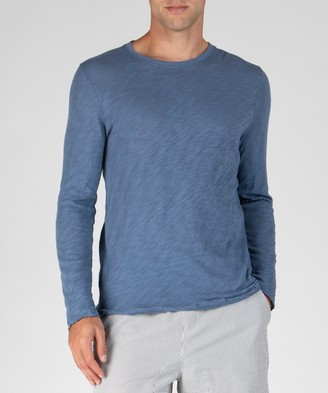 Atm Slub Jersey Long Sleeve Destroyed Wash Tee - Harbour Blue