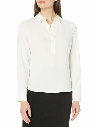 Lark & Ro Long Sleeve Popover Collared Blouse Ivory US 4 (EU S)