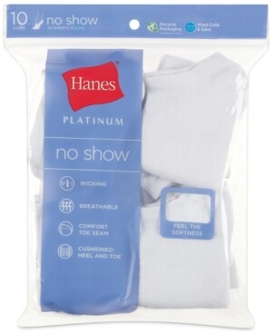 Hanes Women's Platinum 10pk No Show Socks