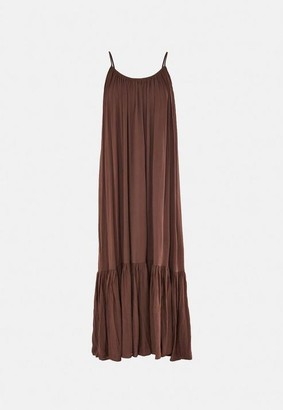 Missguided Brown Strappy Parachute Beach Dress
