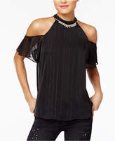 BCX Juniors' Metallic-Stripe Rhinestone Cold-Shoulder Top
