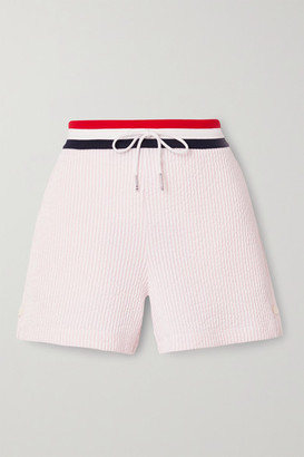 Thom Browne Striped Cotton-seersucker Shorts - Baby pink