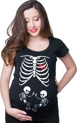 Milky Way Tshirts Women's X-Ray Maternity Twins T-Shirt Baby Shower Skeleton Twins Large Black