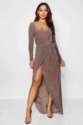 boohoo Slinky Wrap Top Maxi Dress