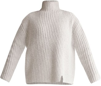 Funnel Neck Chunky Knit Jumper With Wide Ribs In Off White Marl