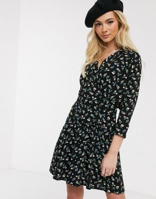 ASOS DESIGN casual wrap mini tea dress in ditsy floral print