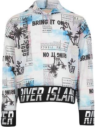 River Island Girls RI Active white palm print mesh hoody
