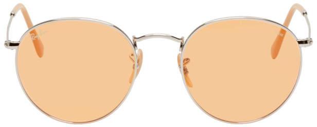 Ray-Ban Silver and Orange Round Phantos Sunglasses