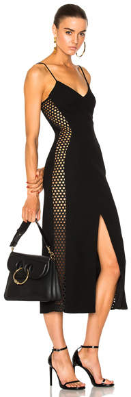 David Koma Macrame Side Panel Midi Dress