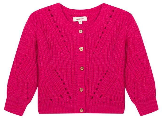 Catimini Maxi Fuchsia Pink Openwork Knit Gilet