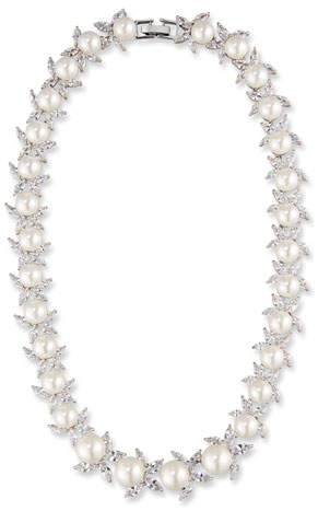 Fallon Monarch Crystal & Pearly Bead Choker Necklace