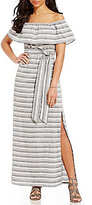 Vince Camuto Off-The-Shoulder Striped Maxi Dress