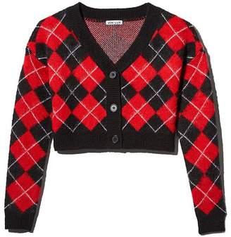 Vox Footwear LUX Fuzzy Cropped Argyle Cardigan Sweater
