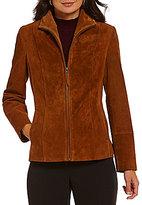 Preston & York Suede Genuine Leather-Trim Scuba Jacket