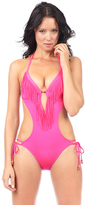 Voda Swim Neon Pink Envy Push Up Fringe Monokini