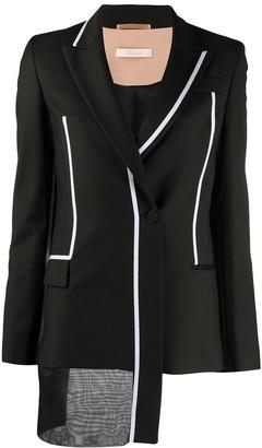 Ssheena Asymmetric Contrast-Trim Blazer
