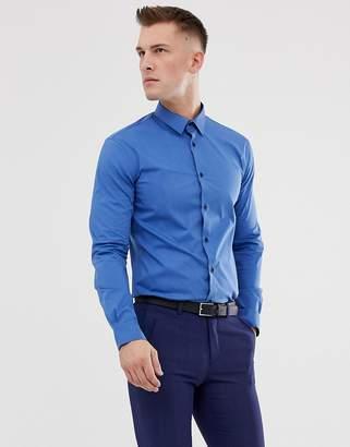 Celio slim fit smart shirt in blue