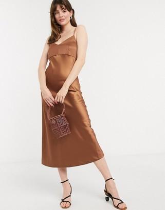 InWear Kasya slinky slip dress in rust