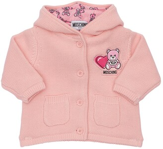 Moschino Hooded Cotton Knit Cardigan W/ Ears