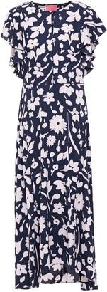 Kate Spade Shirred Ruffled Floral-print Crepe Midi Dress