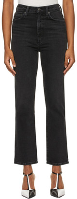 AGOLDE Black Pinch Waist High-Rise Kick Jeans