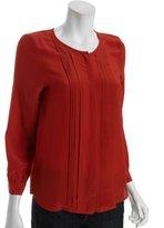 Joie cumin pleated silk woven 'Mellea' blouse