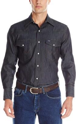 Wrangler Men's Western Premium Performance Advanced Comfort Workshirt Denim Large