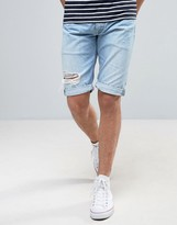 Pepe Jeans Pepe Cash Regular Fit Denim Short Bleach Destroyed Wash
