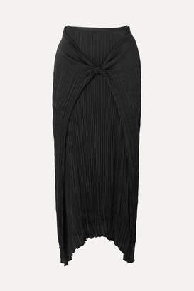 Vince Tie-front Plisse-twill Skirt - Black