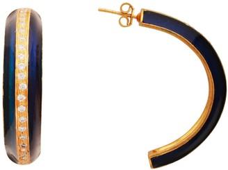Carousel Jewels Gold & Blue Crystal Enamel Large Hoops
