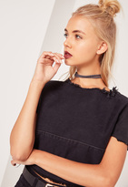 Missguided 2 Pack Mixed Faux Suede Choker Necklace Grey