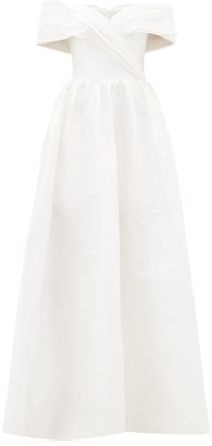 Rasario Off-the-shoulder Silk-taffeta Gown - White