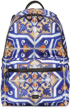 Dolce & Gabbana Maiolica Print Nylon Backpack