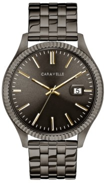 Caravelle Designed by Bulova Men's Gunmetal Stainless Steel Bracelet Watch 41mm
