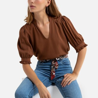 Vero Moda V-Neck Blouse with 3/4 Length Sleeves