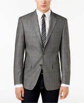 Calvin Klein Men's Slim-Fit Gray/Brown Windowpane Silk and Wool Sport Coat