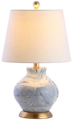"""Jonathan Y Designs Holly 20.5"""" Marbleized Ceramic Table Lamp, Blue and White"""