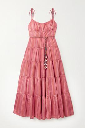 Zimmermann Bonita Embellished Striped Tiered Cotton-voile Midi Dress
