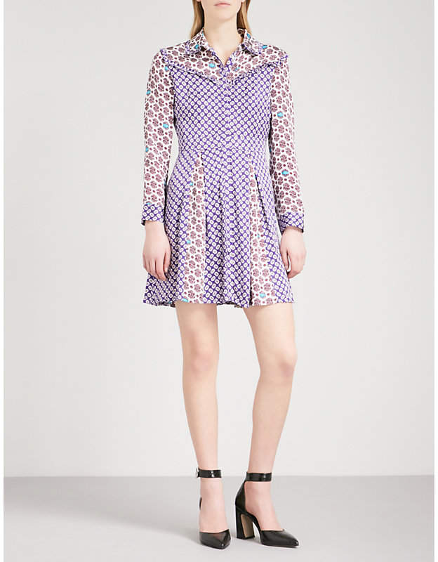 Maje Reed floral-print satin dress