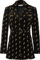 Chloé Embroidered Cotton-blend Velvet Blazer - Black