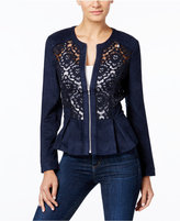 INC International Concepts Mixed-Media Peplum Jacket, Only at Macy's