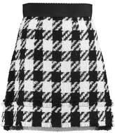Dolce & Gabbana Checked Wool-Blend Mini Skirt