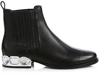 Sophia Webster Bessie Jewel-Heel Leather Chelsea Boots