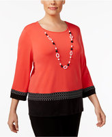 Alfred Dunner Plus Size Saratoga Collection Texture-Trim Necklace Top