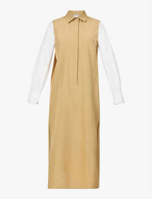 Max Mara Avocado block-colour cotton-poplin midi dress