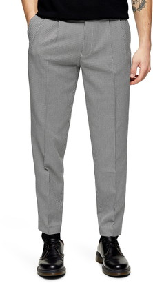 Topman Houston Slim Fit Micro Houndstooth Tapered Trousers