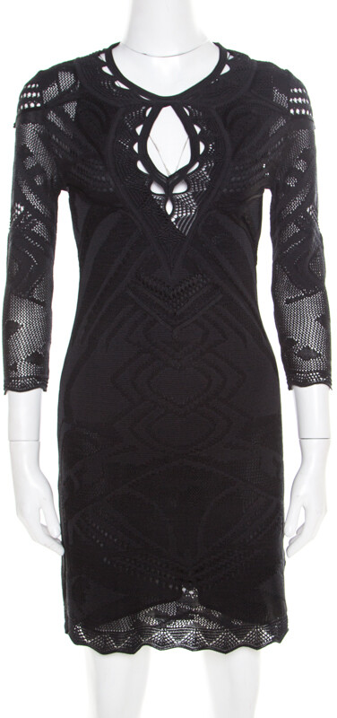 Thumbnail for your product : Roberto Cavalli Black Perforated Knit Long Sleeve Bodycon Dress S